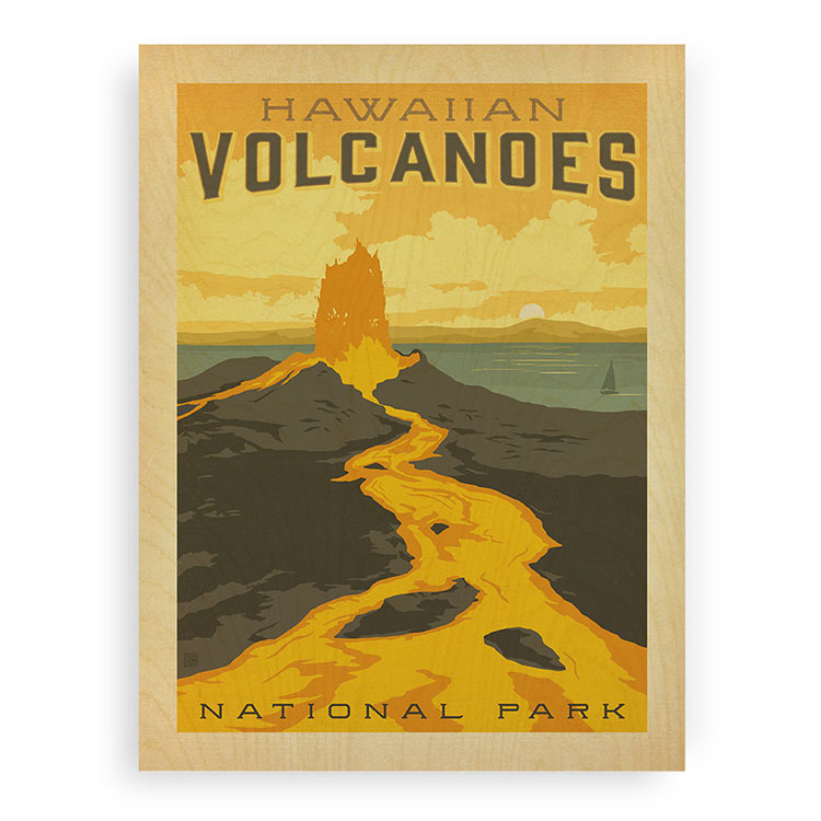 Hawaiian Volcano Wood Print
