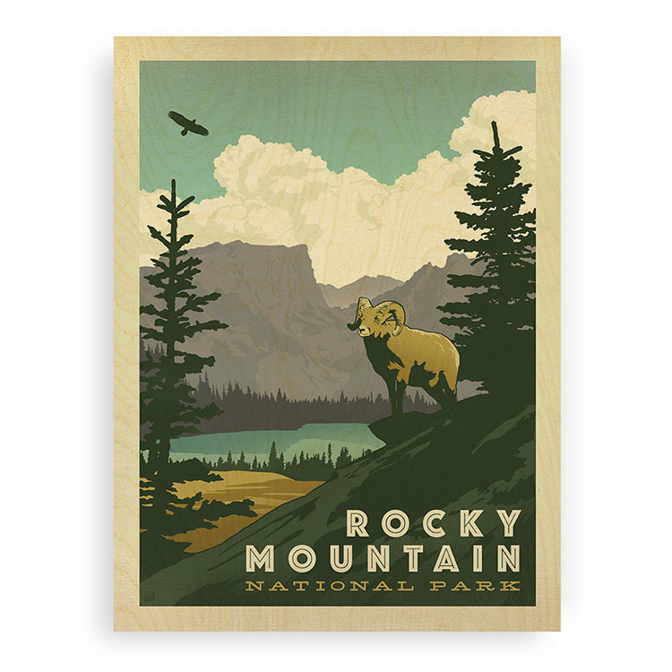 Rocky Mountain Wall Art Wood Prints | Licensed Art | WoodSnap