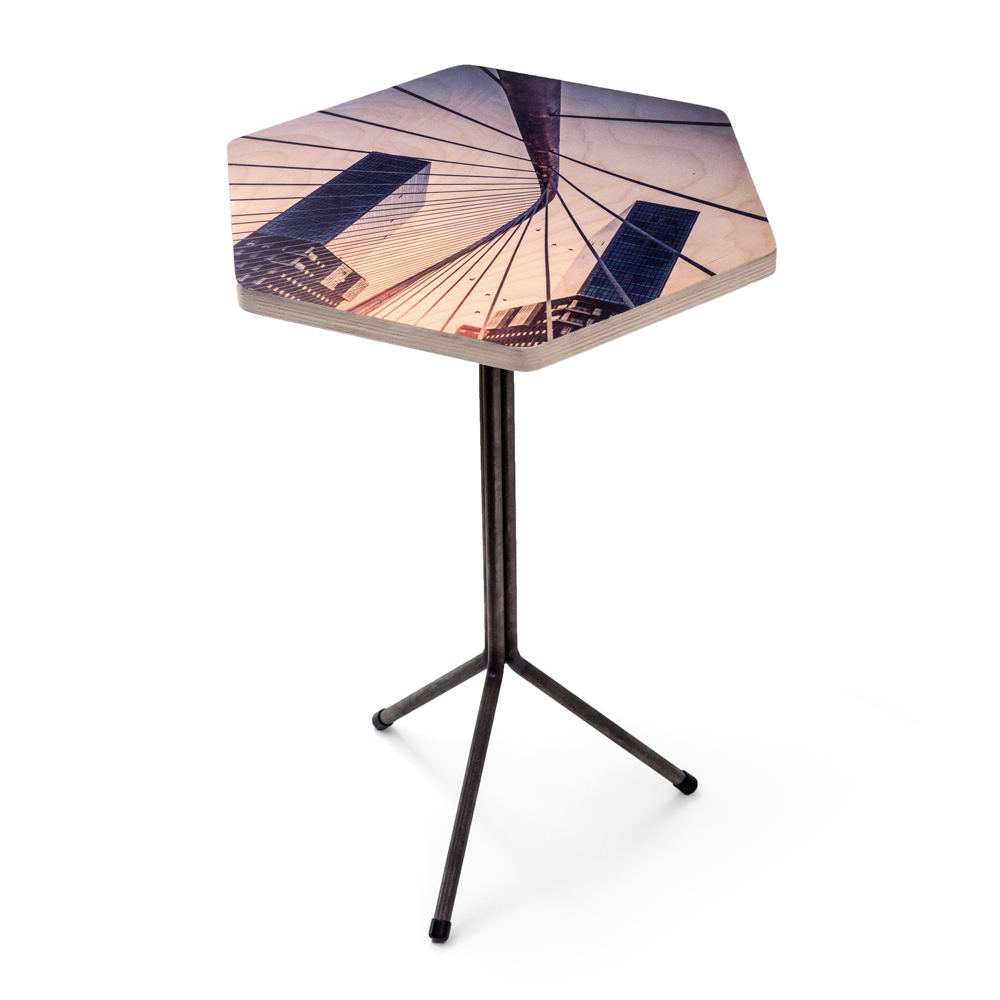 personalized hexagon wood side table